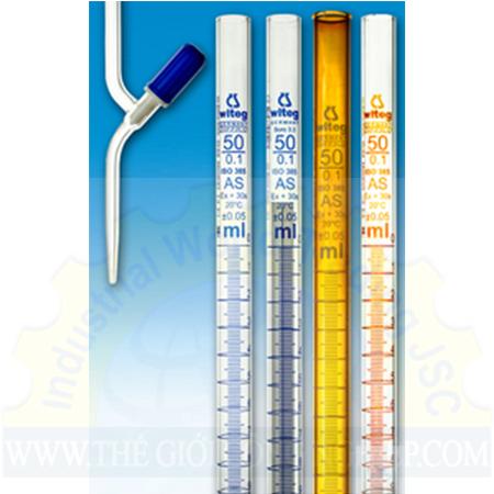 Burette nâu khóa PTFE class AS 50ml (0.1) 632435246725N Eulab
