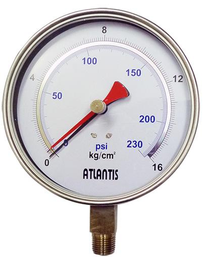 PEAK HOLD (Dual pointer)  PHPG-SUS-O-A-6''-1/4''NPT-0/300kg/cm2&psi ATLANTIS