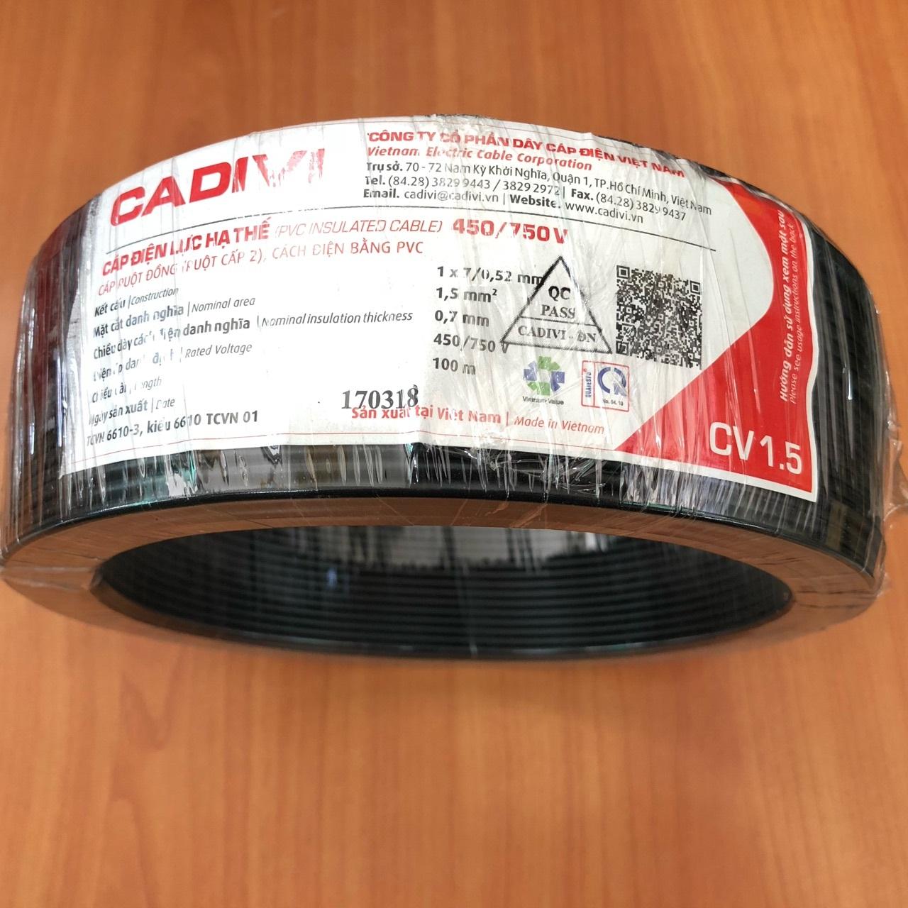 PVC insulated cable CV 3.0 ( MÉT) MÀU ĐEN CADIVI