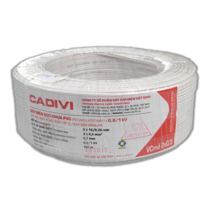 Double wire VCMD 2X0.5 (MÉT) MÀU TRẮNG CADIVI