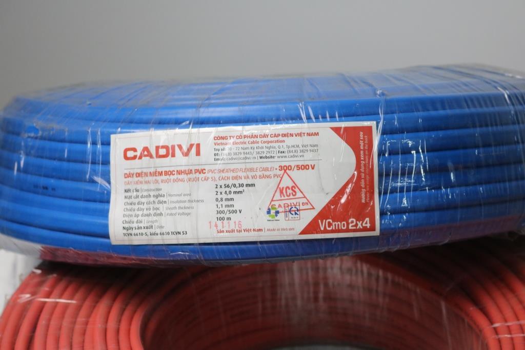 Oval PVC sheathed flexible wires VCMO 2X4 (CUỘN) MÀU XANH DƯƠNG CADIVI